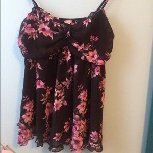 Floral sexy ruffle tank